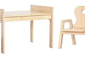 Mitwachsende Kindersitzgruppe Pro, Kindertisch + Stuhl, Motiv: Elefant, 100% Massivholz, natur lackiert