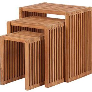 Mr. Deko Teak Beistelltisch 3er Set – Teak – Tisch – Gartentisch – Outdoormöbel – Teakholz – für Balkon, Terrasse…