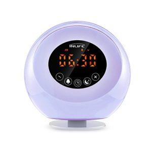 Lichtwecker InLife Radiowecker mit Licht, Wake up Light mit natürlichem Klang, Sonnenaufgang Wecker Licht…