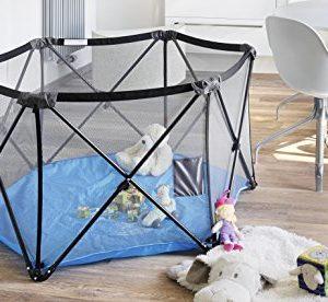 NEUHEIT | Exklusiv IMPAG® PopUp Kinder Baby Laufstall Laufgitter | 6-seitig mit Kreuz-Gestänge aus Metall | 5 kg leicht…