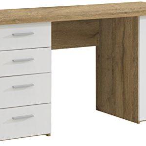 NEWFACE  Schreibtisch mit 4 Schubkästen und 1 Tür, Holz, Planked Eiche + Weiß, 145 x 60 x 76.3 cm