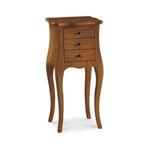 InHouse srls Nachttisch vielzweck, Stil klassisch, aus Massivholz u. MDF, Ausführung Nussbaum Hochglanz – 34 x 41 x 72 …