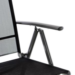 Nexos 4er Set Klappstuhl schwarz 7-Fach-verstellbar Gartenstuhl Aluminium Anthrazit mit Armlehne Hochlehner witterungsbeständig Rahmen anthrazit Balkonstuhl leicht stabil (Rahmenfarbe wählbar)