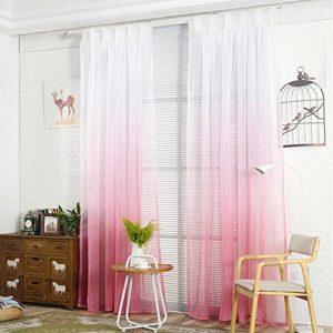 NIBESSER Transparent Farbverlauf Gardine Vorhang Schlaufenschal Deko für Wohnzimmer Schlafzimmer 1 Stück