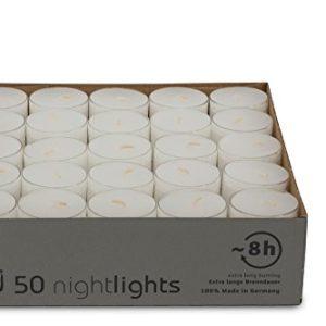 DecoLite Nightlights im Acrylcup – ca. 7-8 Stunden Brenndauer & Bolsius Stabfeuerzeug …