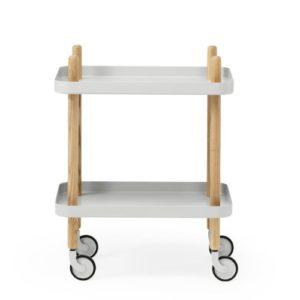 Normann Copenhagen 602200 Block Table – Servierwagen – Beistelltisch – Eschenholz 49,8 x 34,7 x 64 cm