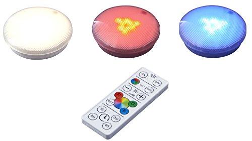 LED Spots Beleuchtung Set Unterbau Küchenlampe Schrankbeleuchtung TV Farbwechsel Vitrine Warmweiß Dimmbar Timer inkl. Batterien Touch Fernbedienung Batteriebetrieben