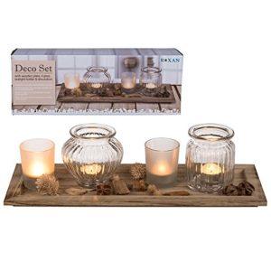 OOTB 220054 Holzteller, mit 4 Gläsern, Dekosteinen und Potpourri, in Geschenkpackung, Holz, Mehrfarbig, 41.3 x 15.2 x 11.5 cm, 1 Einheiten