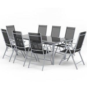 Oskar Alu Sitzgarnitur Gartenmöbel Set 9-Teilig Garnitur Sitzgruppe 1 Tisch 190×87 + 8 Stühle