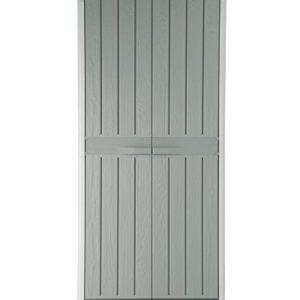 Ondis24 Kunststoffschrank XL Florida mit 3 Böden und Besenfach Grau in Holz Optik Spind Aufbewahrungsschrank abschließbar mit Gummilippen
