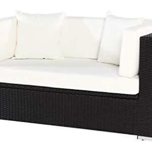 OUTFLEXX 2-Sitzer Sofa aus hochwertigem Poly-Rattan in schwarz mit Kissenboxfunktion inkl. Kissen-Polster, 152 x 85 x 70 cm, Lounge Sofa Gartencouch in 2 Personen, wetterfest, vielseitig kombinierbar