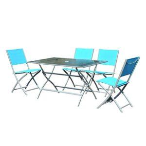 Outsunny® Camping Sitzgruppe Campingtisch Picknicktisch Garten 5 TLG Blau