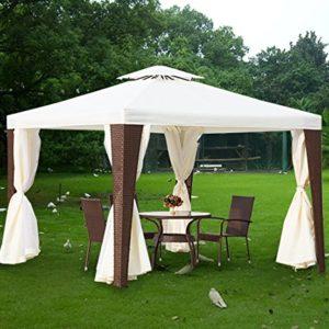 Outsunny Gartenpavillion mit Stahlrahmen, Festzelt, Partyzelt, Pavillon, mit Seitenwänden, 3 x 3 m, braun und beige