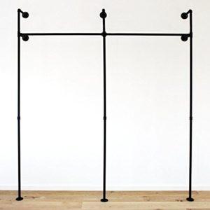 pamo Kleiderstange Industrial Loft Design – Gaderobe für begehbaren Kleiderschrank I Schlafzimmer Kleiderständer aus schwarzen stabilen Rohren I Wasserrohren (2-Fach)