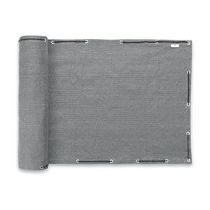 PRIMA GARDEN Balkon-Sicht- und -Windschutz in Grau | 500 x 90 cm | Faltenfrei | Robust | Wetterfest | UV-beständig | Blickdicht