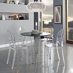 Panana 2er Design Stuhl mit Armlehnen Transparent Moderner Esszimmerstuhl Wohnzimmerstuhl Komfortables Sitzen für Familie Restaurant und Außen – Transparent.