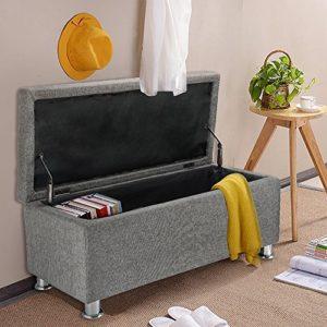 Panana Regalsystem Sitzhocker 102 x 42 x 46cm, Sitzcube als Fußablage, aus Leinen, belastbar bis 300 kg Aufbewahrungsbox – Grau
