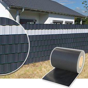 Plantiflex Sichtschutz Rolle 35m Blickdicht PVC Zaunfolie Windschutz für Doppelstabmatten Zaun (Anthrazit)