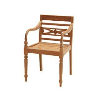 Ploß Ornamentsessel Cambridge – Premium Teakholz-Sessel mit FSC-Zertifikat – Terrassensessel – Holz-Gartensessel Braun – Gartenstuhl mit Armlehne – Holzsessel für Garten, Terrasse oder Balkon