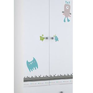 Polini Kids Kleiderschrank Basic Monsters 2-türig weiß-grau aus Spanplatte