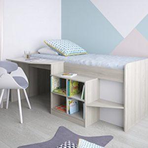 Polini Kids Kinderbett Hochbett mit Schreibtisch und Regal Simple 4000 Farbauswahl