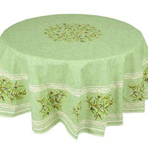Provencetischdecke, Teflon-beschichtet, enduit, abwischbar, Maussane Grün, Rund ca. 180 cm, von Provencestoffe