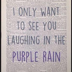 'Purple Rain' Prince Liedtext Vintage Wörterbuch Wand Kunstdruck Bild Legend