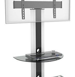 RICOO FS0502, TV Ständer, Rollbar, Stand-Fuss, Schwenkbar, Universal 30-65 Zoll (78–165 cm) TV-Halterung, mit Rollen, VESA 400×400, Weiß-Schwarz