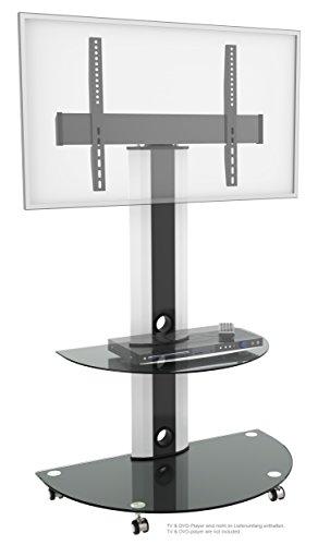 RICOO TV Ständer FS0502 Universal für ca. 30-70 Zoll (76-178cm) Auf Rollen Schwenkbar Neigbar Kabelführung | Standfuß Fernsehständer Rollbar Mobil | VESA 300×200 600×400 | Weiß Schwarz mit Glas-Regal