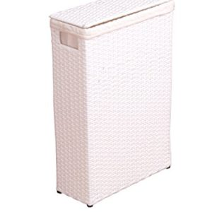 Raumspar Wäschekorb aus PVC handgeflochten weiß lackiert