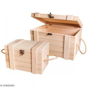 Rayher Hobby 62651000 Holz-Truhen Set mit Jutegriffen, Set 2 Stück, 30 x 20,5 x 17,3 cm und 24 x 16 x 15,5 cm, naturbelassen, Schatztruhen, Schatzkisten