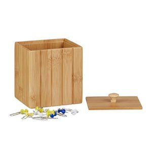 Relaxdays Aufbewahrungsbox mit Deckel, Holzbox klein, Ordnungsbox Bambus, Vorratsdose Holz, HBT: 11,5 x 10 x 8 cm, natur