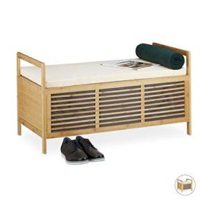 Relaxdays Bambus Sitzhocker mit Stauraum in Naturoptik mit Sitzkissen als praktische Fußablage und Aufbewahrungsbox mit Klappe zum Öffnen für Bad und Wohnräume, natur