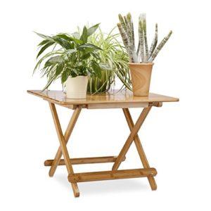 Relaxdays Beistelltisch klappbar in HxBxT: 50 x 65,5 x 65,5 cm, Gartentisch ausziehbar, Klapptisch quadratisch, natur