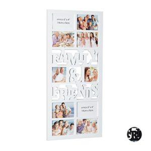 Relaxdays Bilderrahmen 10 Fotos, Galerierahmen Family & Friends, Collage, HxBxT: 74,5 x 35 x 2 cm, in Schwarz oder Weiß