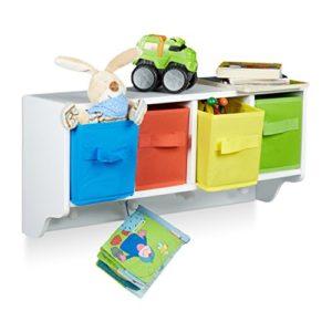 Relaxdays Kinder Wandregal ALBUS, Wandgarderobe mit 4 Kleiderhaken, Kinderregal mit 4 bunte Faltboxen, HBT: ca. 28 x 61…