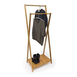 Relaxdays Kleiderständer Bambus H x B x T: 156 x 56,5 x 40 cm stabiler Garderobenständer aus Bambus mit 1 Ablagefläche…