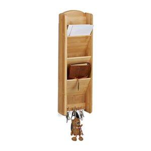 Relaxdays Schlüsselbrett mit Ablage Bambus, 3 Fächer, 3 Schlüssel, Wandorganizer, H x B x T: 7,5 x 15 x 49,5, Holz, natur