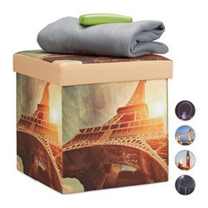 Relaxdays Sitzhocker mit Beleuchtung, Sitzwürfel mit Eiffelturm Motiv, LED Falthocker Paris HBT: 38 x 38 x 38 cm, bunt