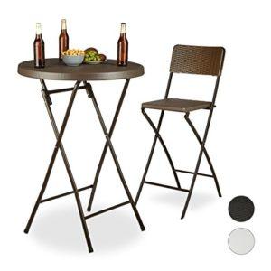 Relaxdays Stehtisch klappbar BASTIAN rund, Bistrotisch HxBxT: 110 x 80 x 80 cm, Rattanoptik, Wetterfest, Bartisch, braun