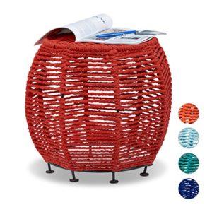 Relaxdays Strick Hocker Shabby Chic, Sitzhocker aus Metall und Stoff, runder Pouf HxBxT: 35 x 42 x 42 cm, versch. Farben