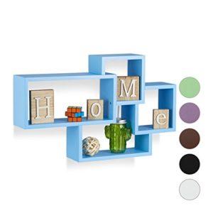 Relaxdays Wandregal Cube, Freischwebend, Modernes Design, 4 Fächer, MDF, HBT: 42x69x12cm, Verschiedene Farbvarianten