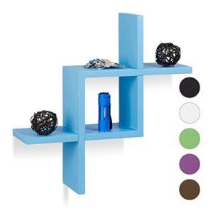 Relaxdays, Zusammenstecken, Modernes Design, Mit 6 kg belastbar, MDF, HBT: 40x40x12cm, Blau Wandregal schwebend, Holz…