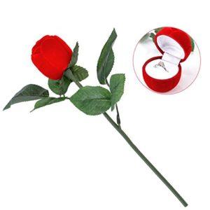 Yosoo Ringschatulle Rose Kopf mit Lange Stiel Langstielige Blume Schmuckschachtel Ringetuis Ringbox Ringschachtel Verpackung für Hochzeit Ringe/Valentinstag / Verlobungsring