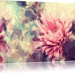 Romantische Blumen Pinsel Effekt auf Leinwand, XXL riesige Bilder fertig gerahmt mit Keilrahmen, Kunstdruck auf Wandbild mit Rahmen, günstiger als Gemälde oder Ölbild, kein Poster oder Plakat