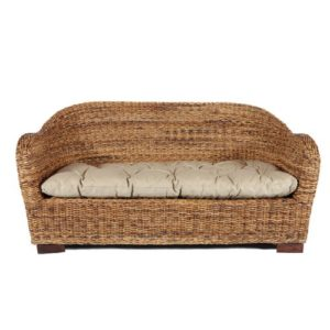 Rotin Design Rattansofa AZUR – Korbsofa – inkl. Sitzpolster – Massivholzfüße – Braun