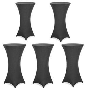 SAILUN. 5 Stück Stehtischhusse Tischhussen, Tischdurchmesser Ø 60-80cm im Weiß, Eleganter Tischüberzug für Stehtische Bistrotisch Tisch