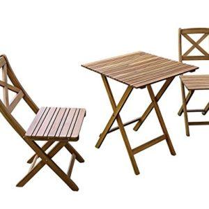 SAM 3-TLG. Gartengruppe Xenia, Akazienholz geölt, 1x Tisch 60×60 cm + 2X Stühle, klappbar, Natur