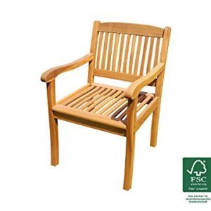 SAM Akazien-Gartenstuhl France, FSC® 100% Massiv mit Armlehnen, gemütlicher Sessel ideal für Garten, Terrasse, Balkon