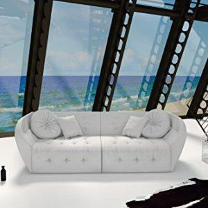 SAM Design Sofa Shel in weiß Couch inklusive 4 Kissen abgesteppte Oberfläche mit Ziersteinen
